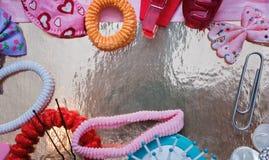 Malplaatjefoto - kapsels voor baby - met plaats voor uw tekst stock fotografie