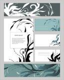 Malplaatjes met abstracte elementen voor het brandmerken en identiteit Een reeks tekstframes en adreskaartjes Voor modern ontwerp vector illustratie