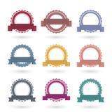 Malplaatjes om emblemen met linten, vectorillustratie Royalty-vrije Stock Afbeelding