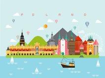 Malplaatjes van de Oriëntatiepunteninfographic van Polen de Beroemde voor het Reizen en Pictogram, Symbool Vastgestelde Vector stock illustratie