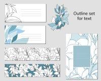 Malplaatjes voor adreskaartjes en prentbriefkaaren met een contour bloemenpatroon Tekstframe met blauwe en witte bloemen voor col vector illustratie