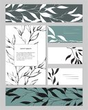Malplaatjes voor collectieve identiteit met contour bloemenpatroon Natuurlijk ornament voor modern ontwerp, advertenties, affiche royalty-vrije illustratie