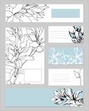 Malplaatjes voor collectieve identiteit met een overzichtspatroon Tekstframe, adreskaartje Natuurlijk ornament voor modern ontwer vector illustratie