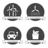 Malplaatjes voor duurzame energieemblemen of emblemen Stock Fotografie