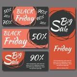 Malplaatjes voor verkoopbevordering op zwarte vrijdag Vector illustratie Royalty-vrije Stock Foto