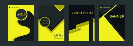 Malplaatjes voor verticale Webbanners met gele en zwarte elementen die lijnen en ruimte voor een foto snijden vector illustratie