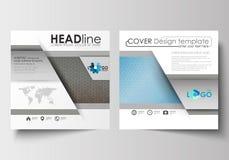 Malplaatjes voor vierkante brochure, tijdschrift, vlieger, boekje Pamfletdekking, vlakke lay-out Wetenschappelijk medisch onderzo royalty-vrije illustratie