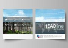 Malplaatjes voor vierkante ontwerpbrochure, tijdschrift, vlieger, boekje of jaarverslag Pamfletdekking, abstracte vectorlay-out stock illustratie