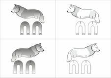 Malplaatjestuk speelgoed wolf van document wordt gemaakt dat Stock Foto's