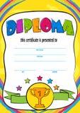 Malplaatjevector van toe te kennen kinddiploma of certificaat Royalty-vrije Stock Foto's