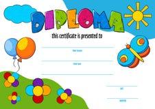 Malplaatjevector van toe te kennen kinddiploma of certificaat Royalty-vrije Stock Fotografie