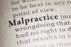 Malpractice. Fake Dictionary, Dictionary definition of the word Malpractice. including key descriptive words stock image