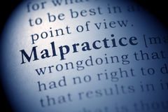 Malpractice. Fake Dictionary, Dictionary definition of the word Malpractice. including key descriptive words stock photo