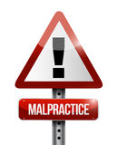 Malpractice warning road sign illustration design Stock Images