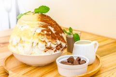 Malt and choccolate Bingsu. Korian shaved ice served with choccolate ship , milk and choccolate sauce Royalty Free Stock Photos