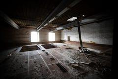 Malt dryer room. An old desolate brewery malt dryer room Stock Photo
