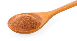 Malt extract in wood spoon. On white background Royalty Free Stock Images
