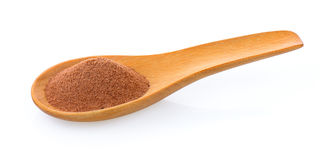 Malt extract in wood spoon. On white background Royalty Free Stock Image