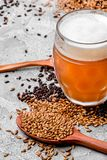 Malt grain and a glass of beer. Mixed varieties of malted grain on a gray background. close-up. Top view. flat lay. series of photos. space stock photography