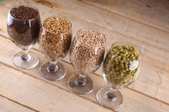 Malt and hops in glasses. Glasses full of malts and hops over a wooden background Stock Photography