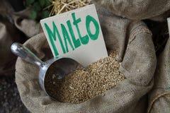 Malt. A sack of malt ingredient in beer Royalty Free Stock Images