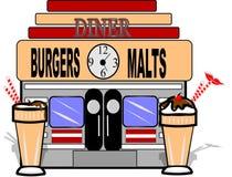Malt shop. Illustration depicting the old malt shop from 50's era Royalty Free Stock Images