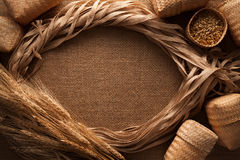 Malt still life rope flax frame sackcloth background. Rustic flat lay frame border Stock Image