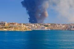 malta Огонь на отход-обрабатывая заводе Sant Antnin Стоковые Фото