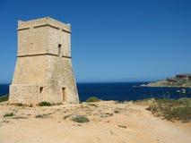 Malta. Old tower of fortress on european island of malta Stock Photos