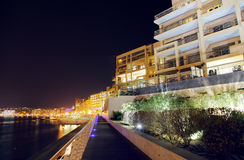 Malta. View of Sliema from seaside in night. Malta Royalty Free Stock Photography