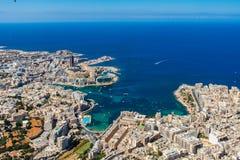 Malta aerial view. St. Julian`s or San Giljan, and Tas-Sliema cities. St. Julian`s bay, Balluta bay, Spinola bay. stock photo