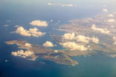 Malta From The Air. A view of Malta and the surrounding areas, from the sky Stock Image