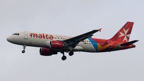 Malta Airlines Airbus A320 landing. At Heathrow Airport on 7 March 2018 Stock Photos