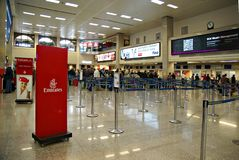 Malta Airport International Terminal. VALLETTA,ISLAND OF MALTA, EUROPE - NOVEMBER 8, 2014. Malta International Airport, named Luqa to by locals  or Valletta Royalty Free Stock Image