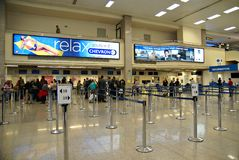 Malta Airport International Terminal. VALLETTA,ISLAND OF MALTA, EUROPE - NOVEMBER 8, 2014. Malta International Airport, named Luqa to by locals  or Valletta Royalty Free Stock Images