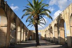 Malta: The arcades in the upper Baracca Garden in Valetta City. Malta: The arcades in the upper Baracca Garden in the capital city of Valetta Stock Images