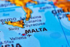 Malta Archipelago on the Map. Malta Islands in Europe on the World Map Royalty Free Stock Photography