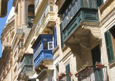 Malta architecture. Architecture of old town of Valletta, Malta Royalty Free Stock Photography