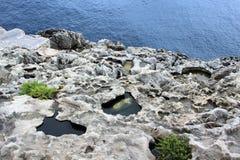 Malta august 2015 Marsaxalok structural seashore royalty free stock images