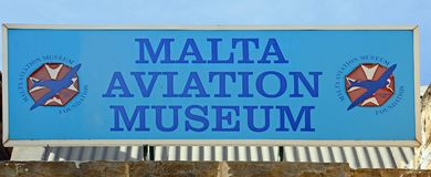 Malta Aviation Museum sign. Malta Aviation Museum sign, Attard, Malta, Europe Royalty Free Stock Photo