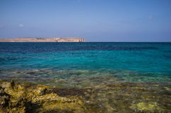 Malta Azure sea. Beautiful Azure waters off the Maltese coast looking across to Gozo Stock Photo