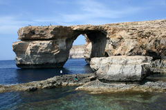 Malta - Azure window. Intersting rocks formation on Gozo island, Malta Royalty Free Stock Photos