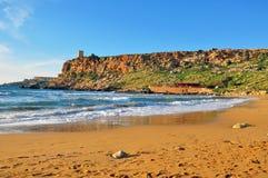 Malta beach. Mediterranean beach on summer, Maltese Islands Royalty Free Stock Image