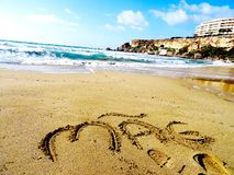 Malta beach, mother tribute - Europe royalty free stock photo