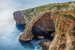 Malta - The beautiful arc of the Blue Grotto. On a bright summer day Royalty Free Stock Photo