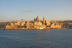 Malta: Beautiful landscape of Valletta in the afternoon. Very unique, beautiful and scenic landscape of Valletta, Malta, in the afternoon Royalty Free Stock Images
