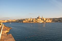 Malta, Beautiful landscape of Valletta in summer afternoon. Beautiful landscape of Valletta, Malta, in summer afternoon, with Medieval architecture of the city Stock Images
