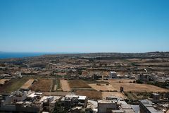 Malta is the best destination. Malta 2018 - Gozo island landscape, sea, villages, fields Royalty Free Stock Photo