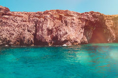 Malta Blue Lagoon and mountainous coast beauty water, rock coast Stock Images