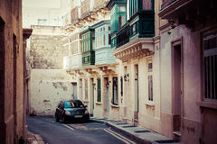 Malta city strets with traditional architecture.  Royalty Free Stock Photo